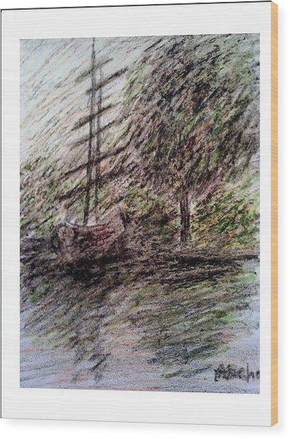 By The Lake Wood Print by Aida Behani