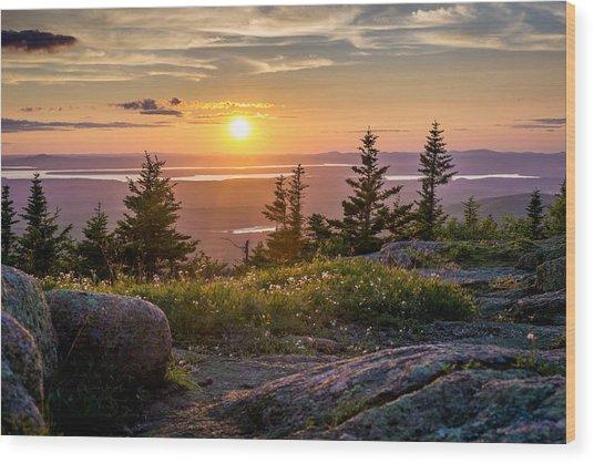 Cadillac Mountain Sunset  Wood Print