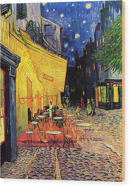 Cafe Terrace Place Du Forum At Night Wood Print