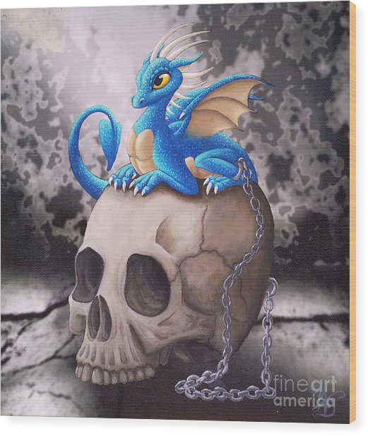 Wood Print featuring the painting Captive Dragon On An Old Skull by Mary Hoy