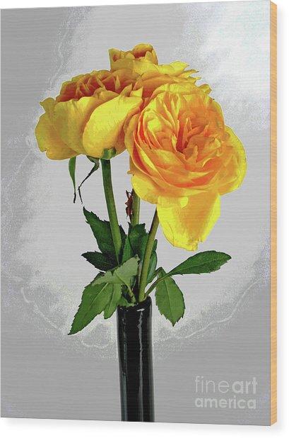 Captured Yellow Roses Wood Print