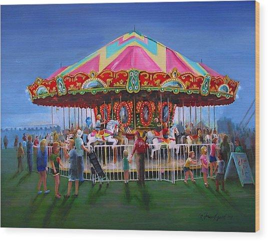 Carousel At Dusk Wood Print
