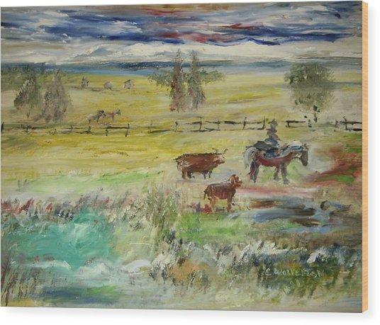 Cattle Drive Wood Print by Edward Wolverton