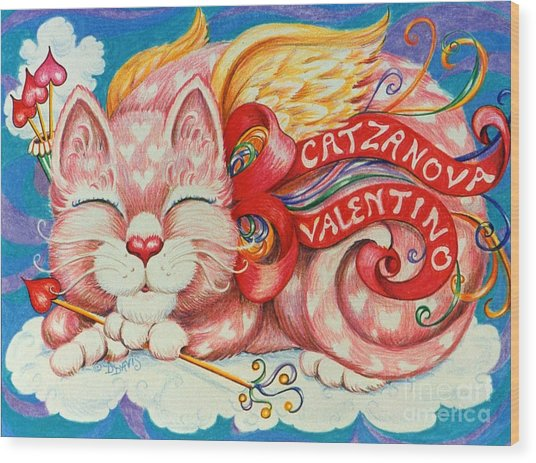 Catzanova Valentino Wood Print