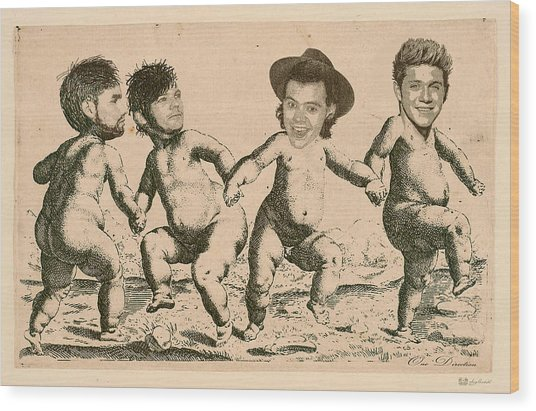 Celebrity Etchings - One Direction   Wood Print