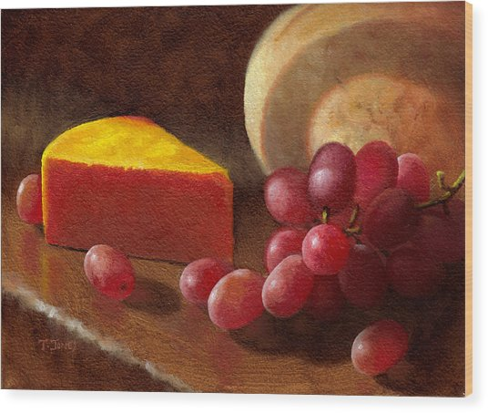 Cheese Wedge And Grapes Wood Print