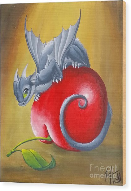 Wood Print featuring the painting Cherry Dragon by Mary Hoy