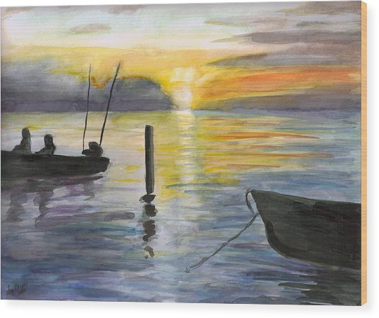 Chesapeake Sunset Wood Print