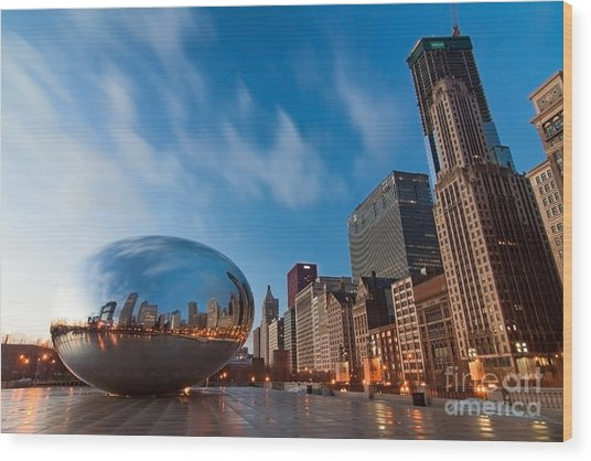 Chicago Skyline And Bean At Sunrise Wood Print