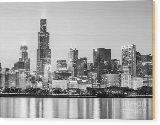 Chicago Skyline Black And White Photo Wood Print by Paul Velgos