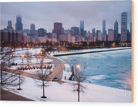 Chicago Skyline In Winter Wood Print