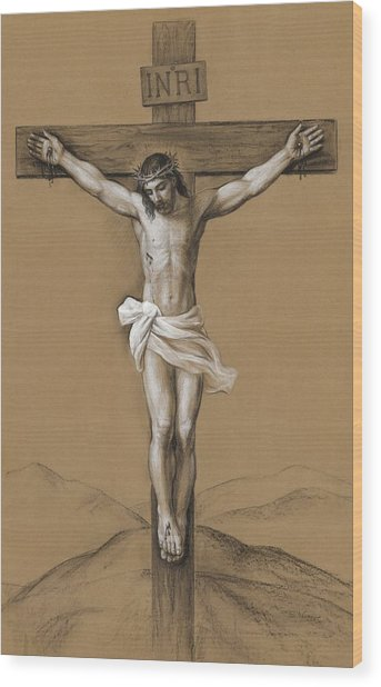 Christ Crucified Wood Print by Svitozar Nenyuk