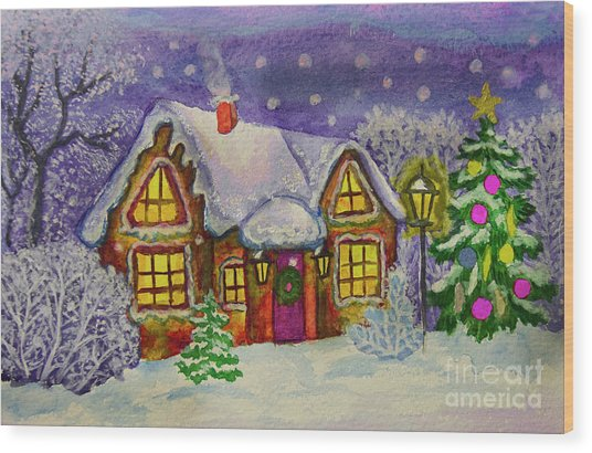 Christmas House, Painting Wood Print