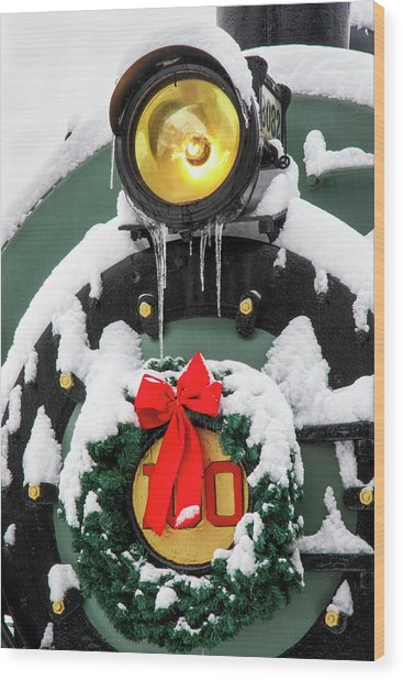 Christmas Train At Pacific Junction Wood Print