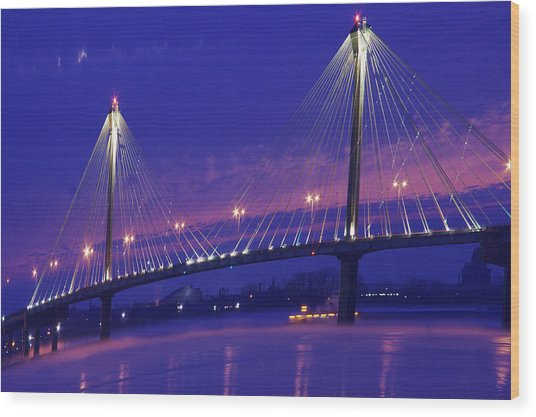 Clark Bridge Sunrise Wood Print
