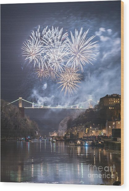 Clifton Suspension Bridge Fireworks Wood Print