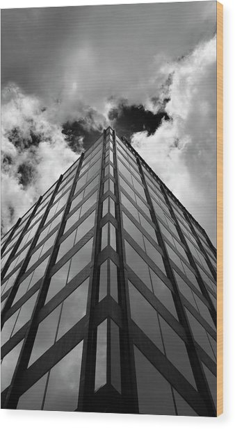 Clouds And Office Building Midtown Wood Print by Robert Ullmann