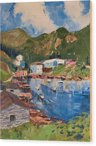 Coastal Village, Newfoundland Wood Print