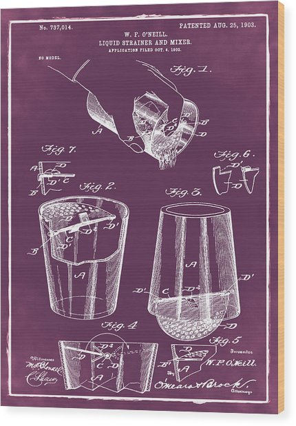 Cocktail Mixer Patent 1903 In Chalk Wood Print