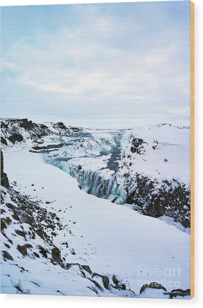 Cold Winter Day At Gullfoss, Iceland Wood Print