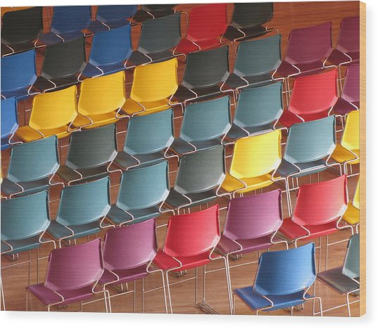 Colorful Chairs Wood Print