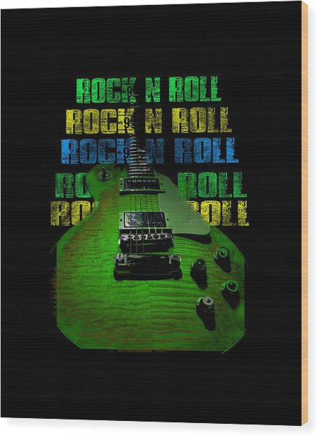 Wood Print featuring the photograph Colorful Music Rock N Roll Guitar Retro Distressed  by Guitar Wacky