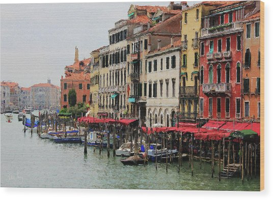 Wood Print featuring the digital art Colours Of The Grand Canal by Julian Perry
