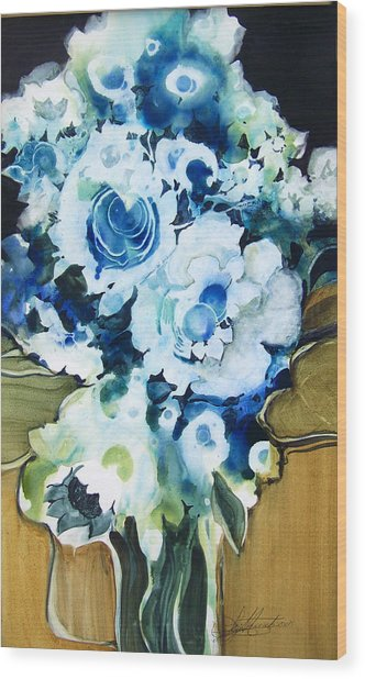 Contemporary Floral In Blue And White Wood Print by Lois Mountz
