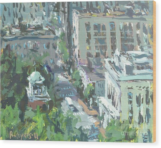 Contemporary Richmond Virginia Cityscape Painting Wood Print