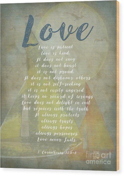 1 Corinthians 13 4-8 Love Is Patient Love Is Kind Wedding Verses. Great Gift For Men Or Home Decor. Wood Print