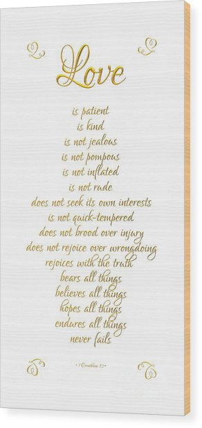 1 Corinthians 13 Love Is White Background Wood Print