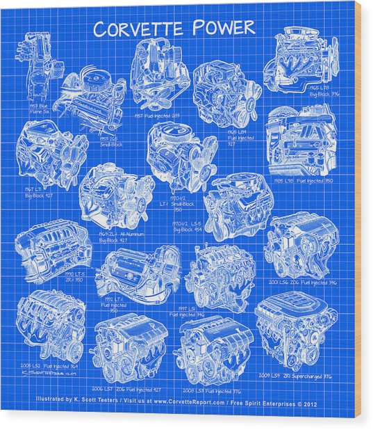 Corvette Power - Corvette Engines From The Blue Flame Six To The C6 Zr1 Ls9 Wood Print