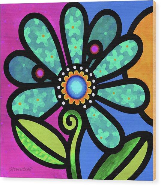 Cosmic Daisy In Aqua Wood Print