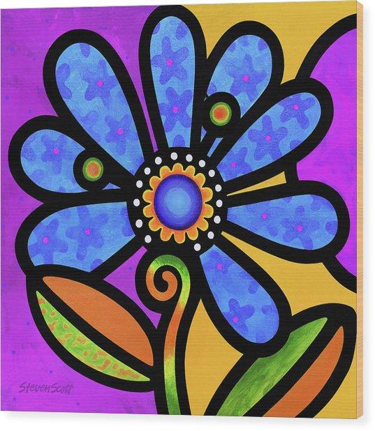 Cosmic Daisy In Blue Wood Print