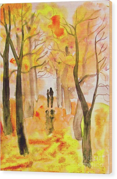 Couple On Autumn Alley, Painting Wood Print