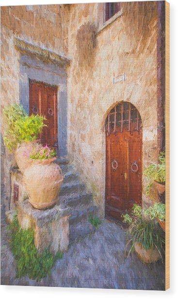 Courtyard Of Tuscany Wood Print