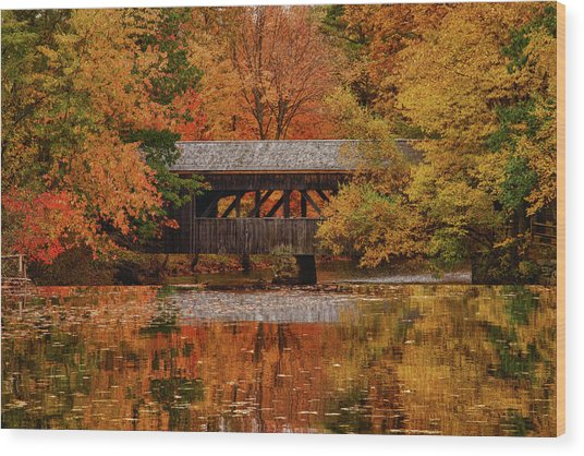 Covered Bridge At Sturbridge Village Wood Print