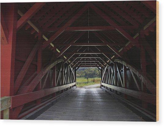 Inside A Covered Bridge Wood Print