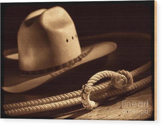Cowboy Hat And Lasso Wood Print