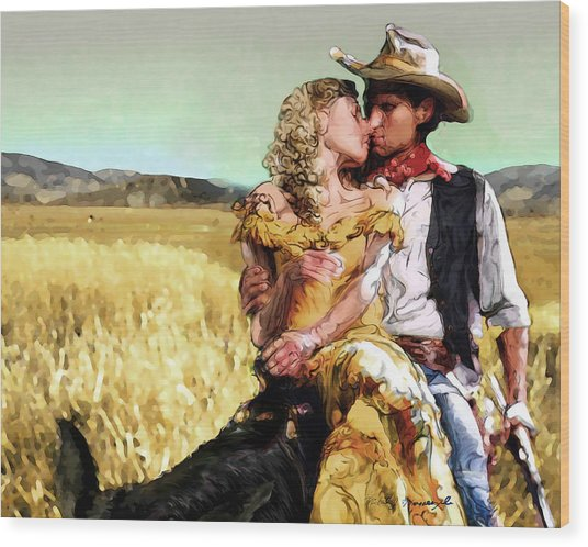 Cowboy's Romance Wood Print by Mike Massengale