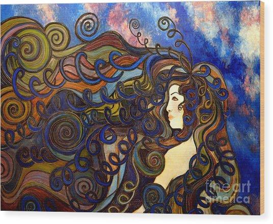 Curly Girl Wood Print