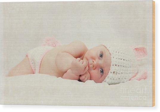 Cute Newborn Portrait Wood Print by Gualtiero Boffi