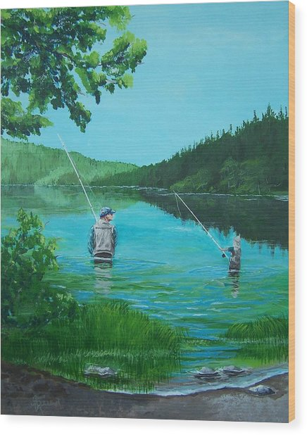 Dad And Son Fishing Wood Print