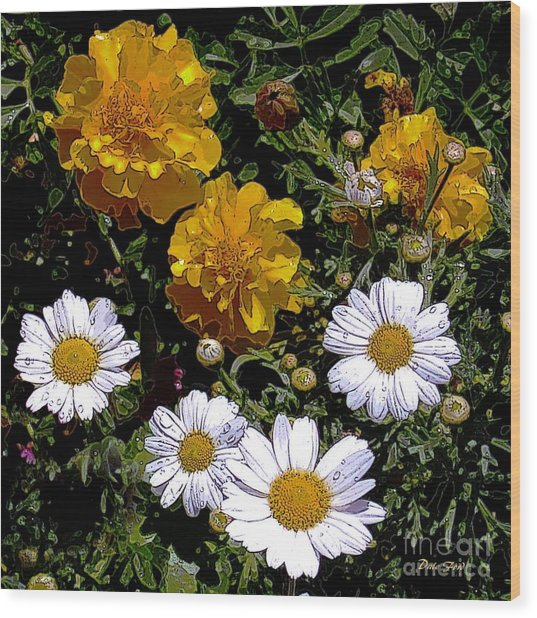 Daisies And Marigolds Wood Print