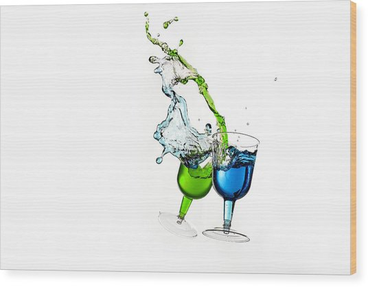Dancing Drinks Wood Print