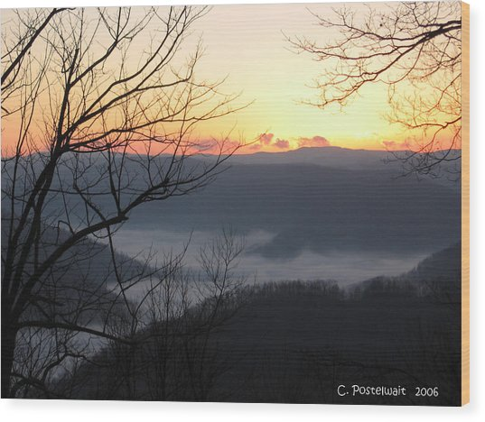December Sunrise Wood Print by Carolyn Postelwait