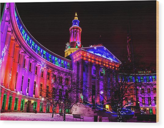 Denver City And County Building Holiday Lights Wood Print