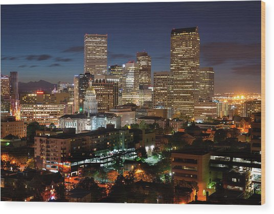 Denver Evening Skyline Wood Print by Steve Mohlenkamp