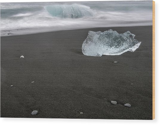 Diamonds Floating In Beaches, Iceland Wood Print