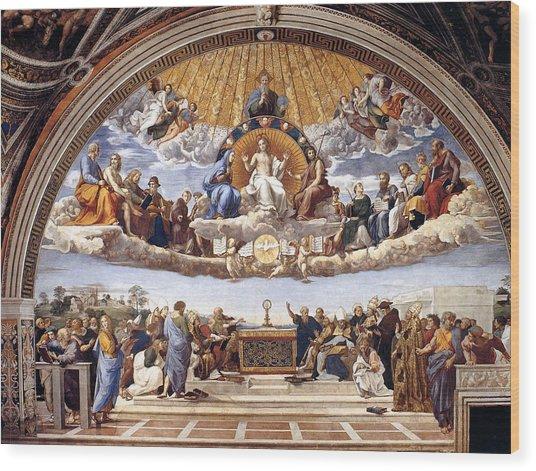 Disputation Of The Eucharist Wood Print